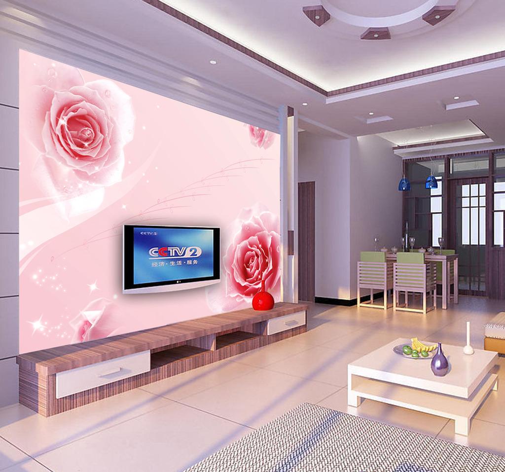 背景墙 奈尔/[版权图片]时尚淡雅粉色玫瑰花背景墙