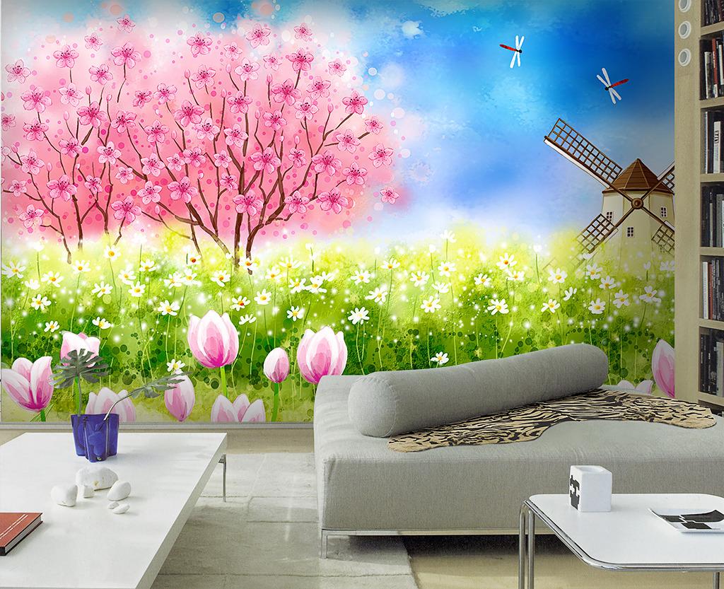 手绘浪漫温馨电视背景墙沙发背景墙