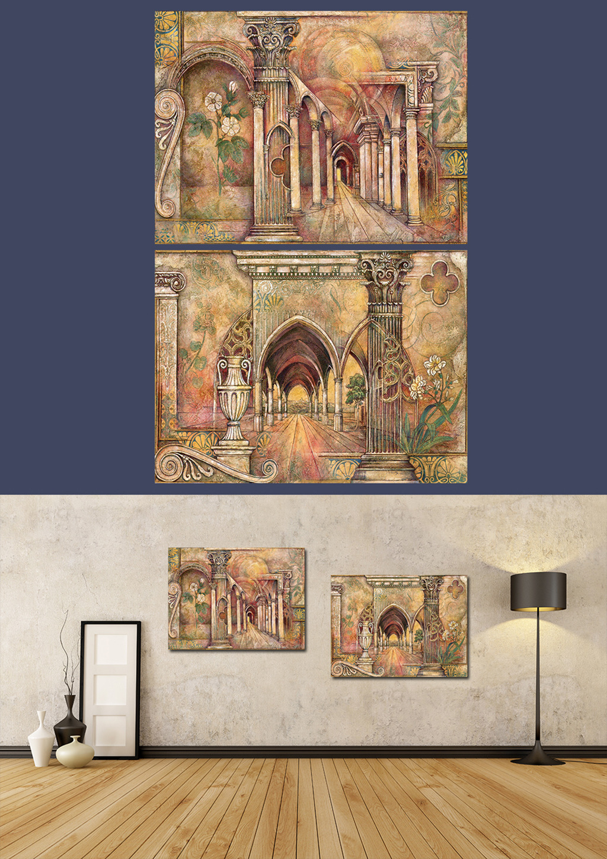 中世纪建筑手绘无框装饰画