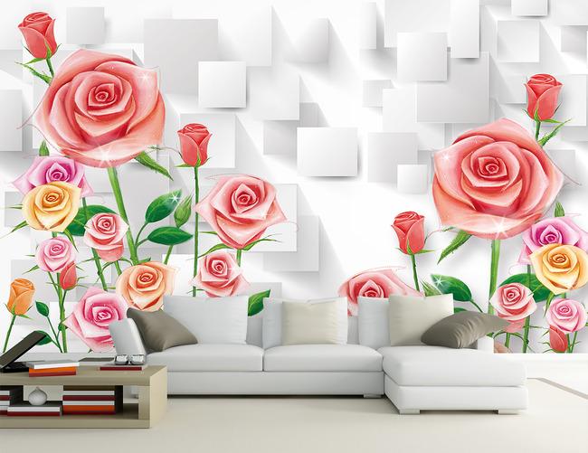 手绘玫瑰花朵3d立体客厅电视背景墙