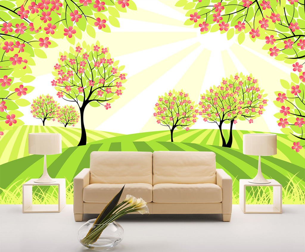 时尚艺术客厅桃花树背景墙