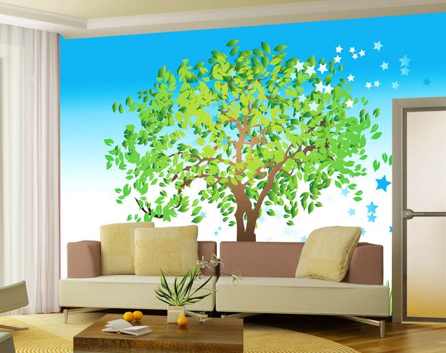 大树常青树卡通动漫手绘电视沙发客厅背景墙