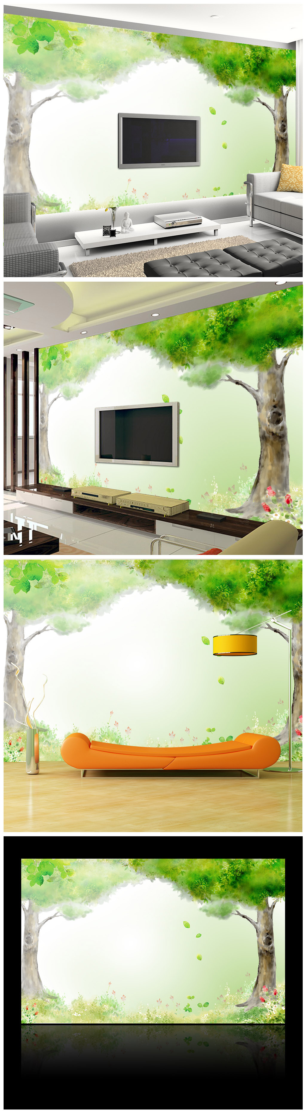 手绘大树电视背景墙