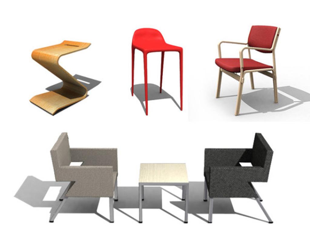 时尚座椅模型(含材质)图片下载