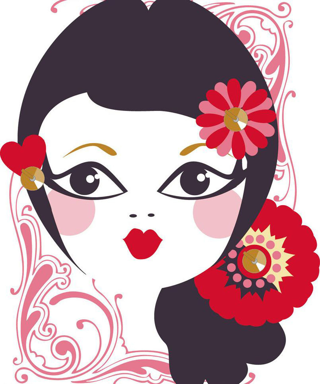 美女头像 女孩 大眼睛 红嘴唇 鲜花 可爱 图案 图形设计 儿童 卡通