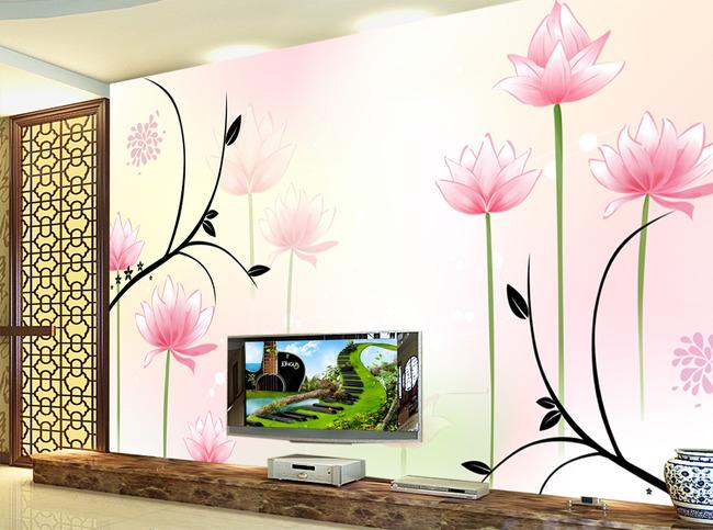 简约现代室内背景墙壁画