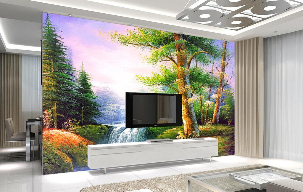 流水生财自然风景背景墙