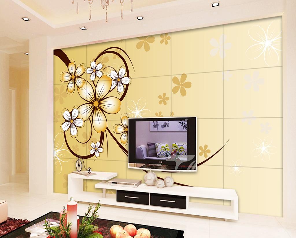 手绘花朵电视背景墙装饰画