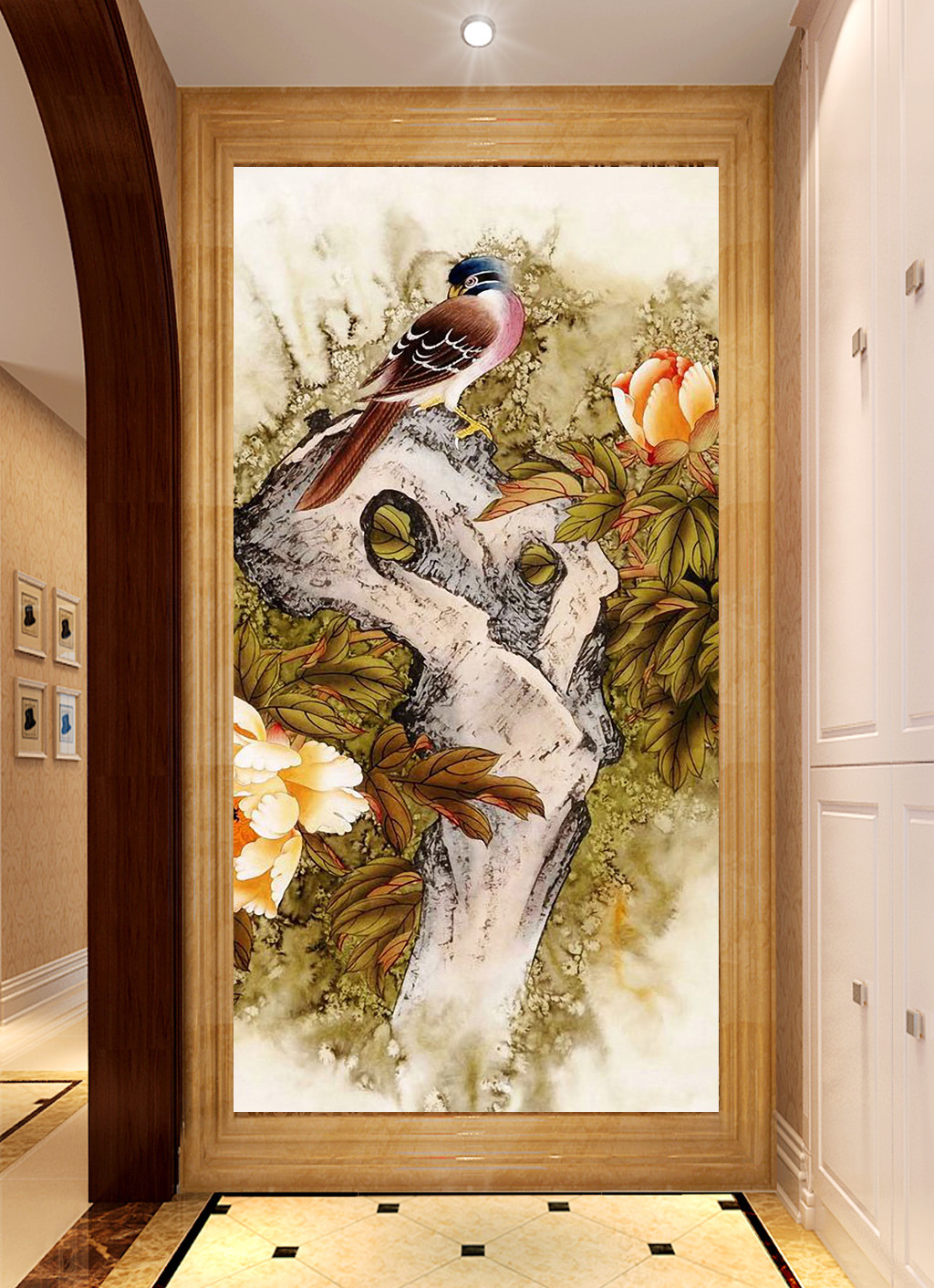 鸟鸣涧山水国画中式风格工笔画过道玄关背景