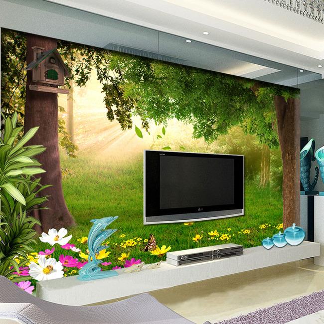 森林风景电视背景墙