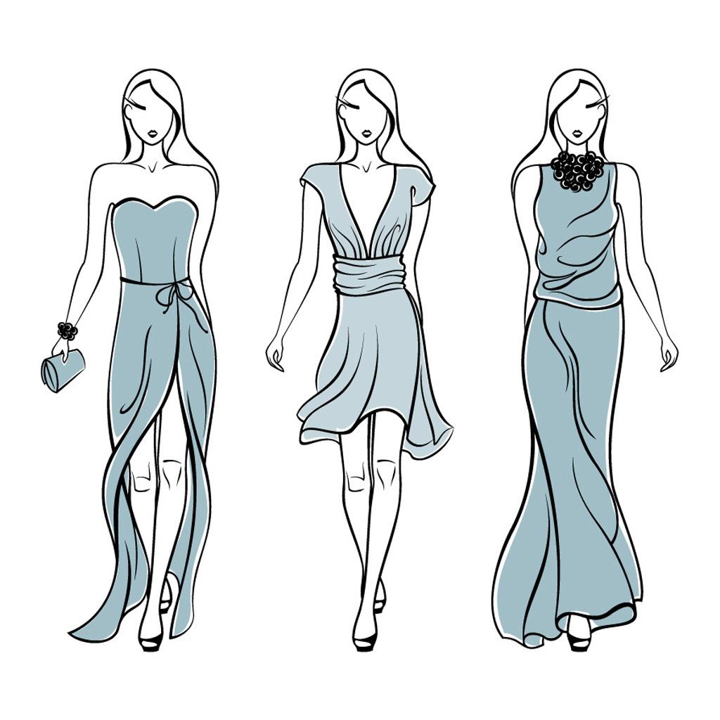 模特身上的裙子画画
