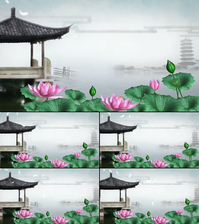 水墨中国风 荷花 古塔亭子高清视频模板下载 图