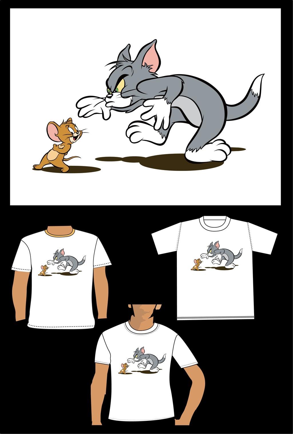 猫和老鼠卡通儿童t恤衫