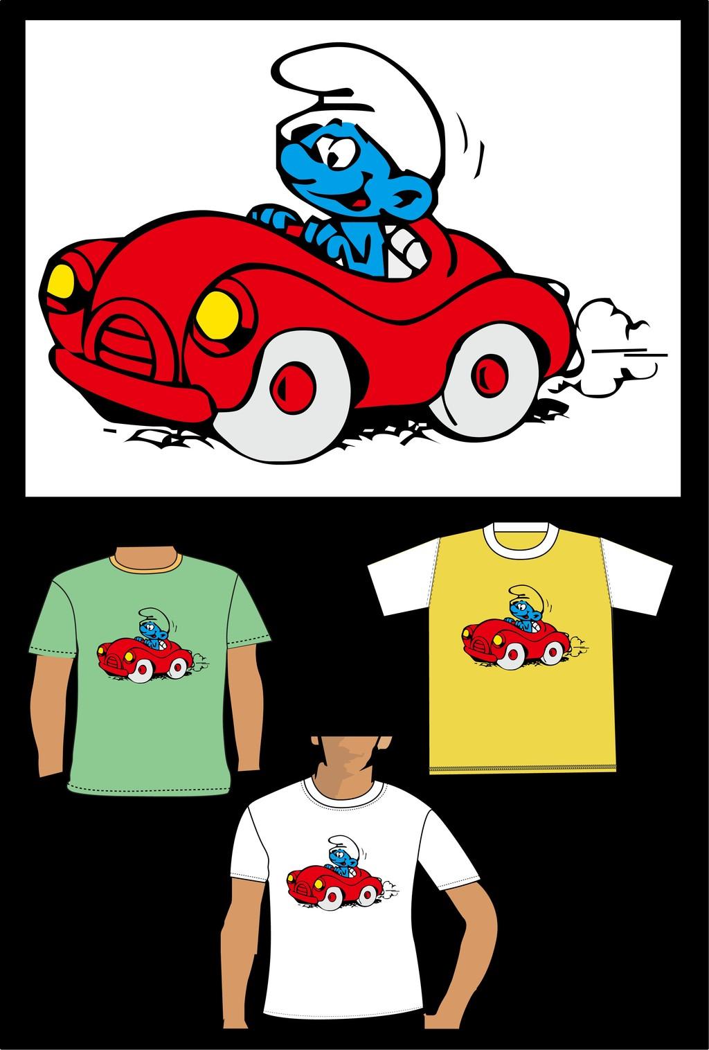 蓝精灵卡通儿童t恤衫