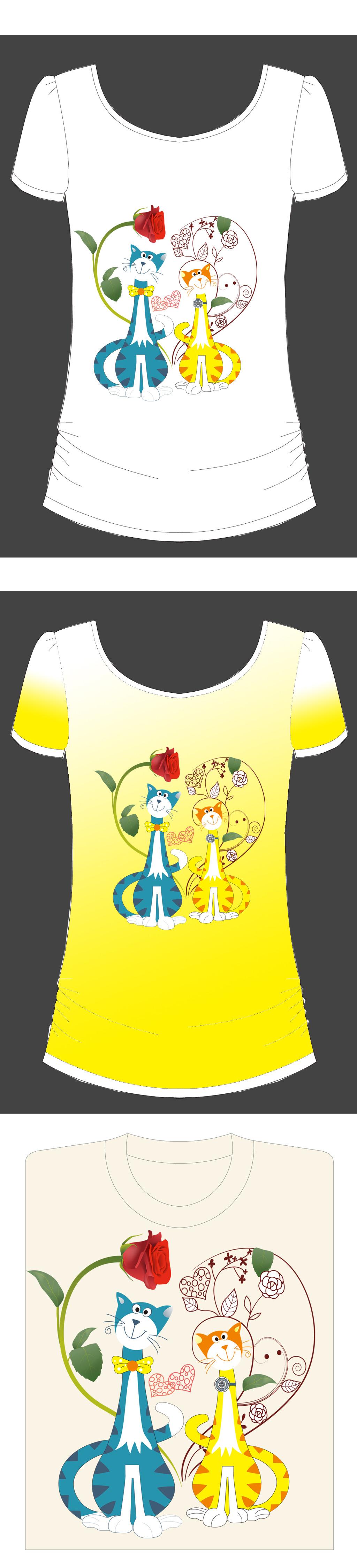 爱心猫咪女式t恤图案