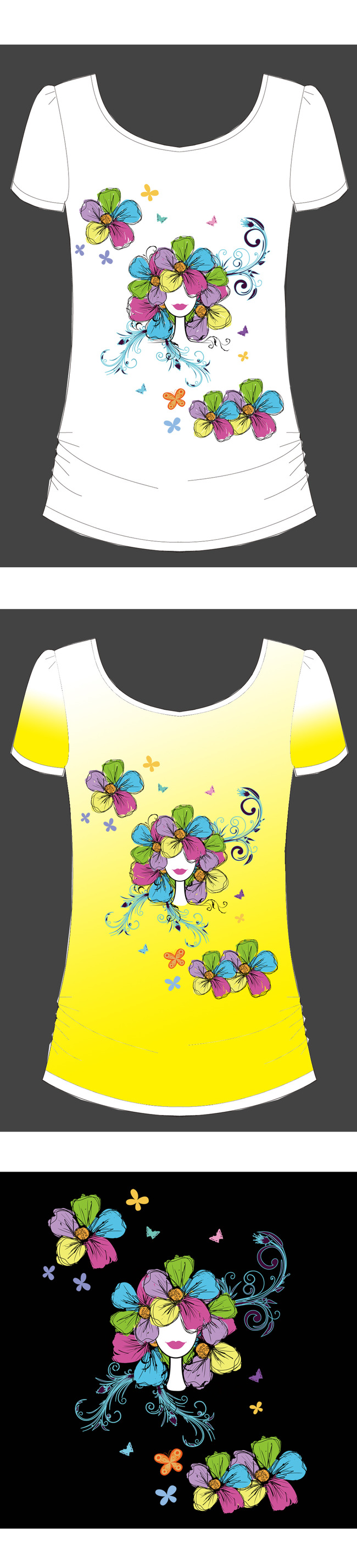 女人花手绘花t恤图案