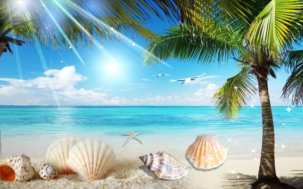 沙滩风景椰树电视背景墙