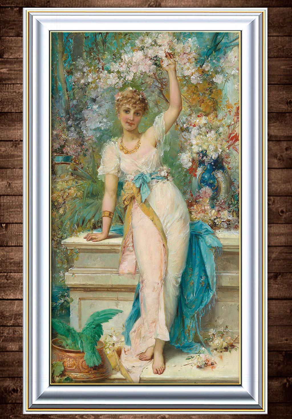 少女/鲜花下的少女古典主义油画...