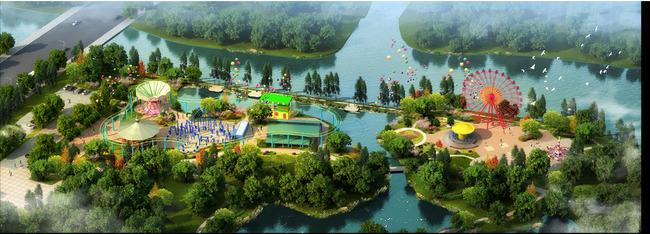 公园儿童游乐园景观设计鸟瞰效果图