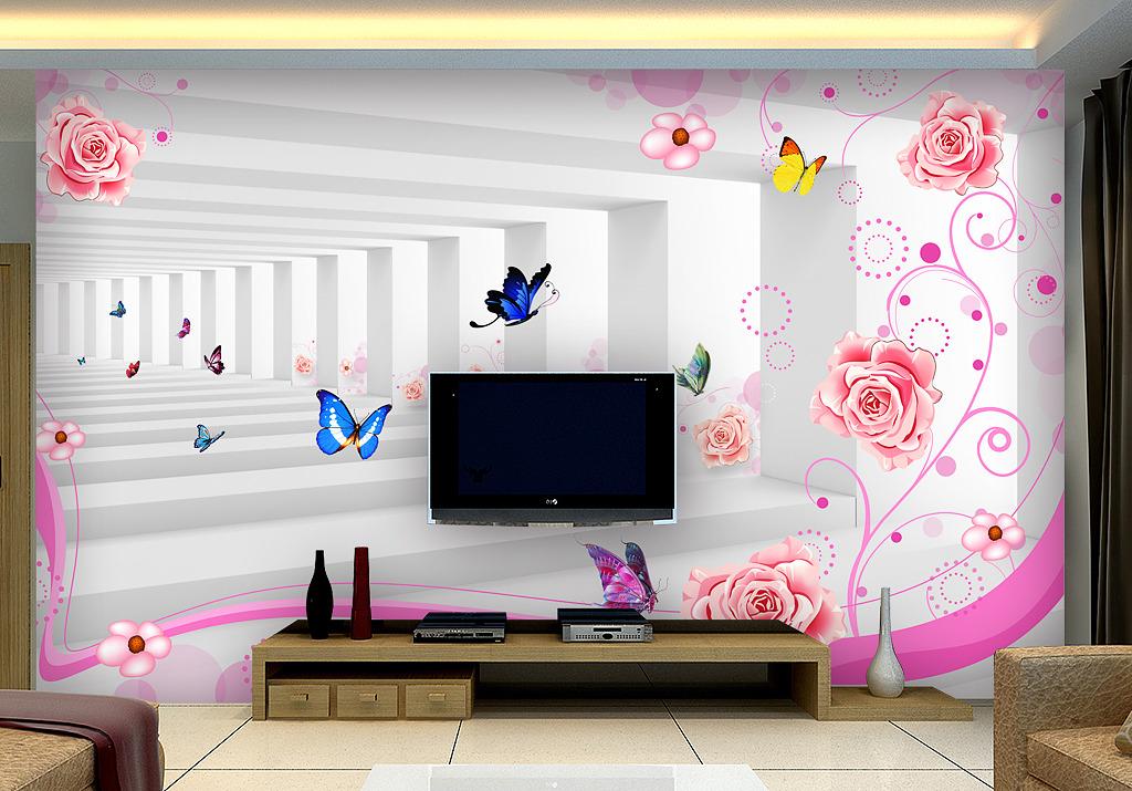 3d立体花园空间扩展电视背景墙装饰画