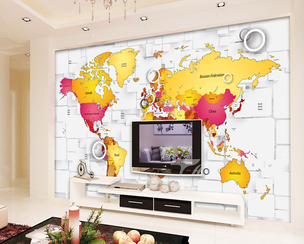 客厅3d方框彩色地图电视背景墙