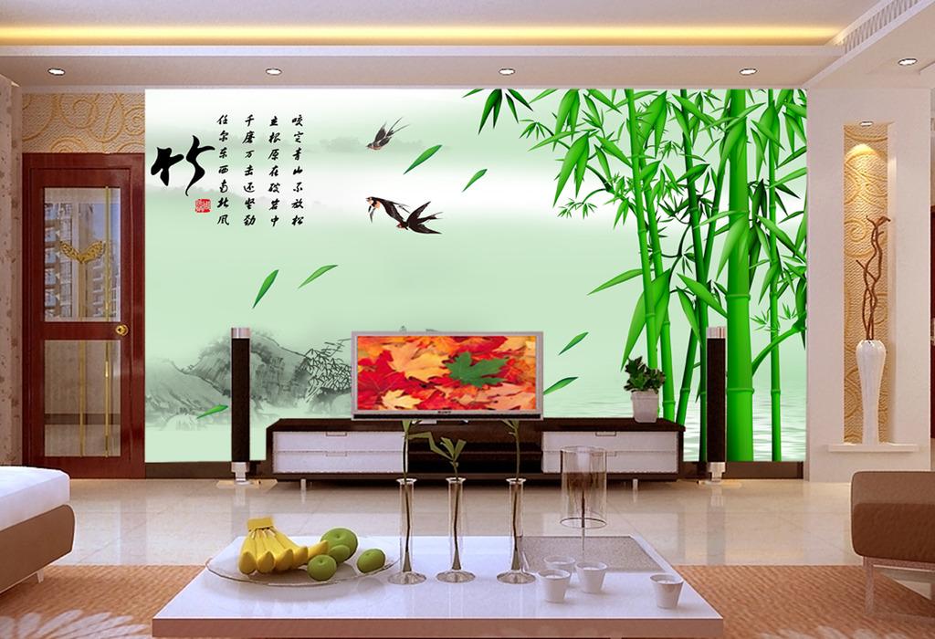 竹韵中式室内背景墙壁画