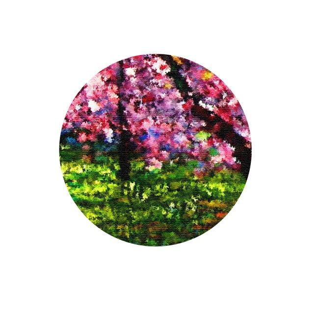 樱花树风景油画无框画高清图