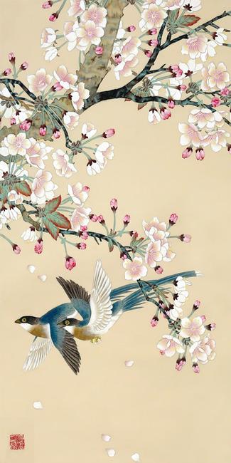 梅花双鸟玄关背景墙