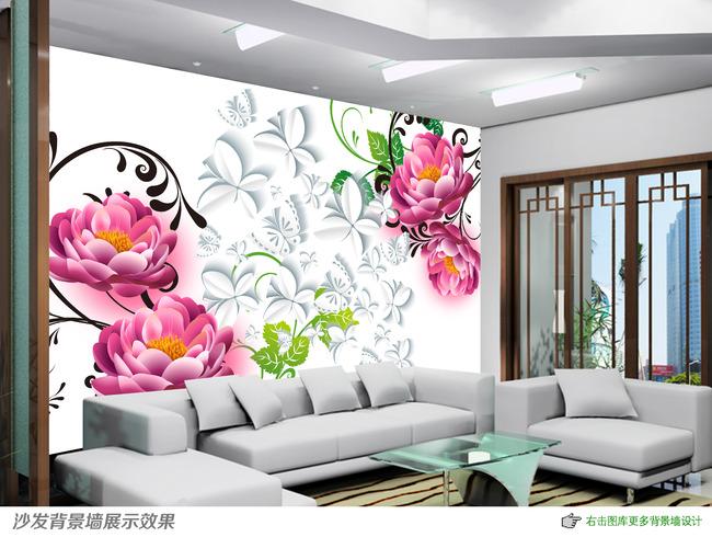 高雅3d立体手绘花卉电视背景墙