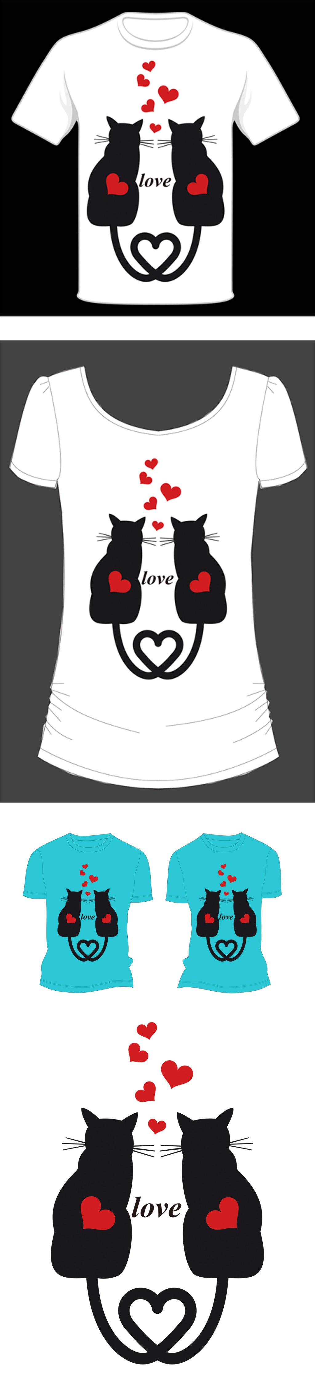 设计图案 个性 创意 抽象 现代 时尚 简约 情侣猫 情侣 爱心 爱 黑白