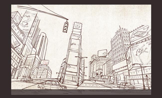 城市背景墙素材 城市背景墙白描画 城市背景墙素描画 城市背景墙手绘