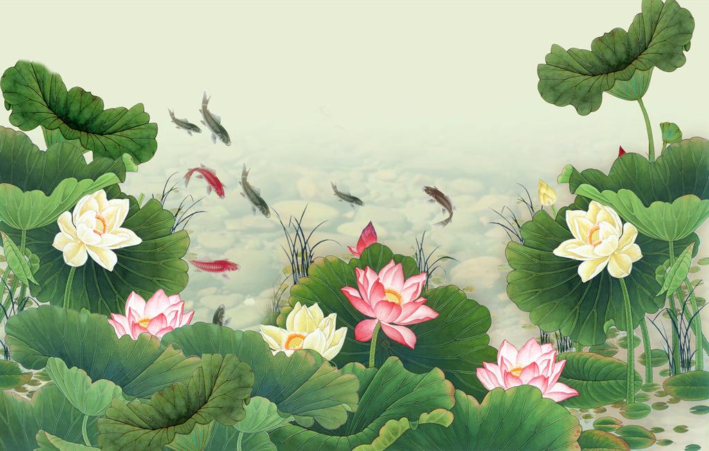 新中式 美丽荷花 电视背景 沙发背景 床头背景 客厅壁画 大堂壁画图片