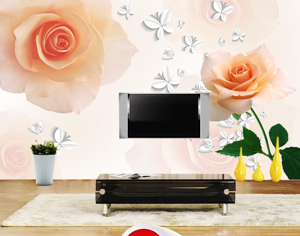 背景墙 电视 蝴蝶/[版权图片]梦幻玫瑰3D蝴蝶电视背景墙