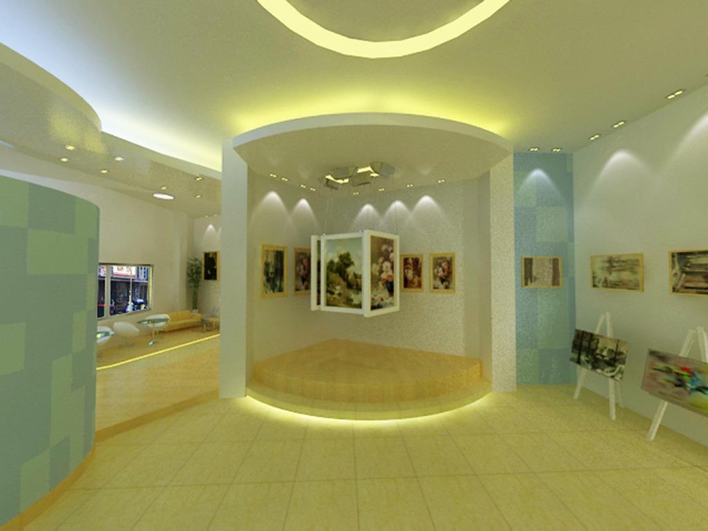 背景墙|装饰画 其他 展示设计 > 画展展销中心设计3d文件,效果图图片