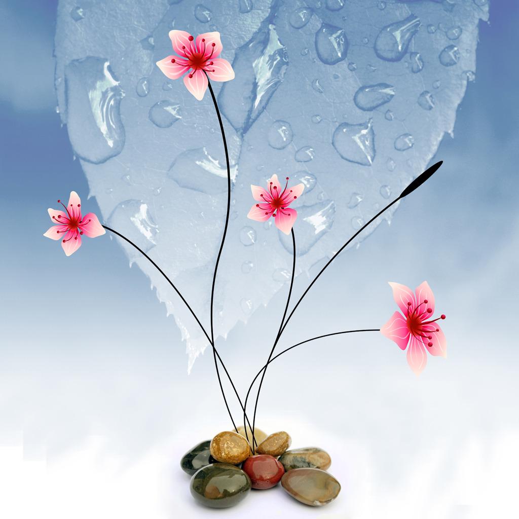 浪漫手绘花朵背景墙