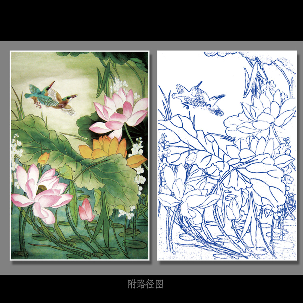 室内设计平面图手绘线稿中国风
