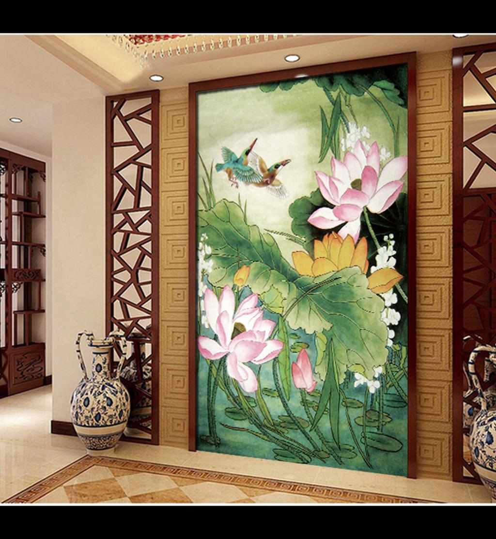 室内装饰荷花国画设计