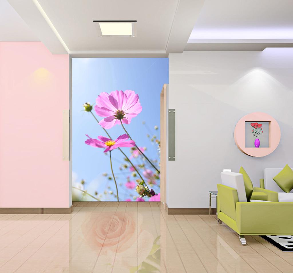 清新/粉红花朵玄关过道背景墙装饰画