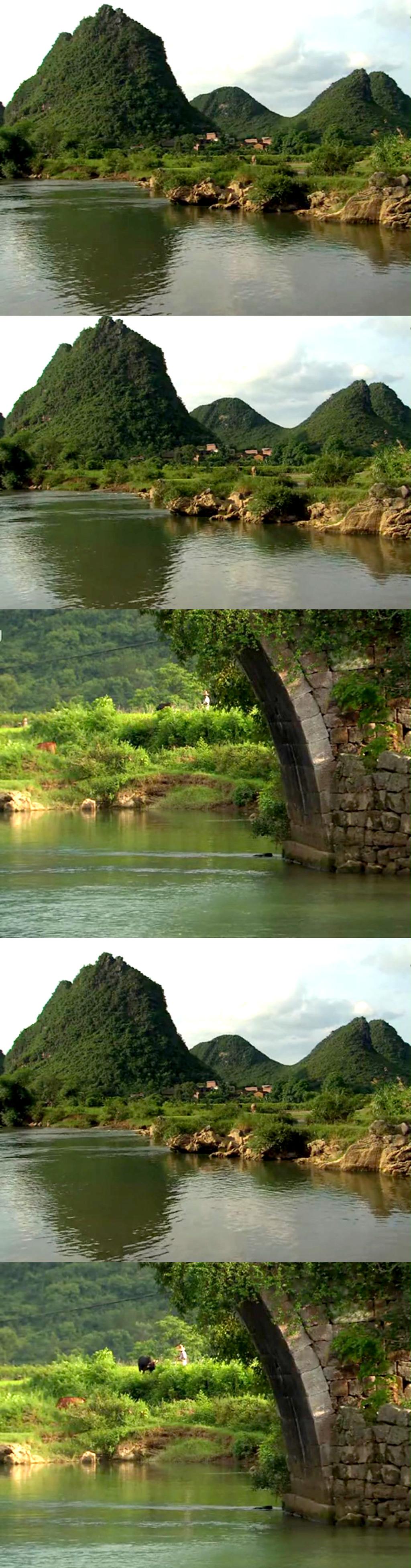 实拍乡村山水自然风景视频素材