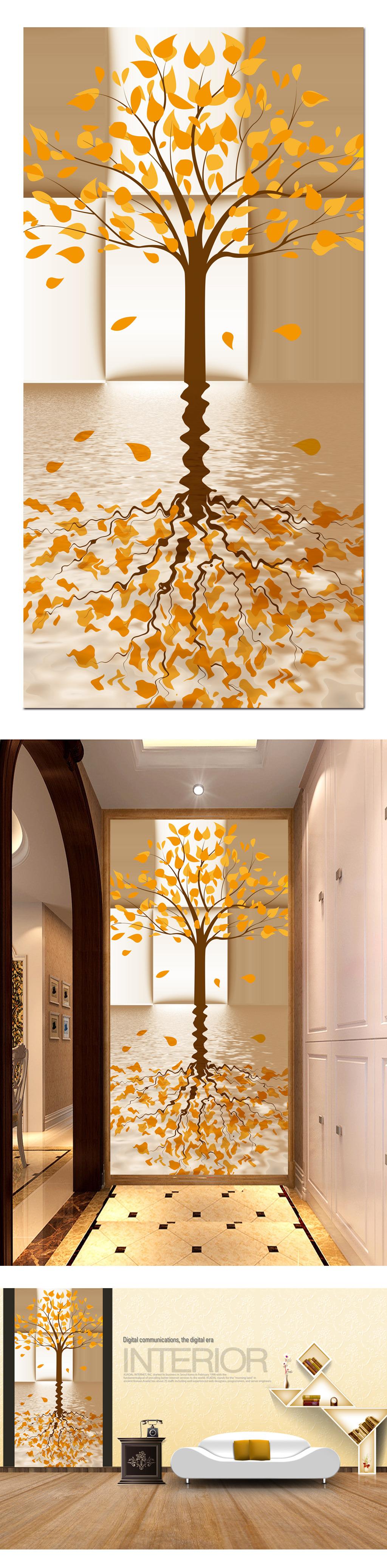 背景墙|装饰画 玄关 3d玄关 > 3d格子大树水中倒影发财树玄关图片
