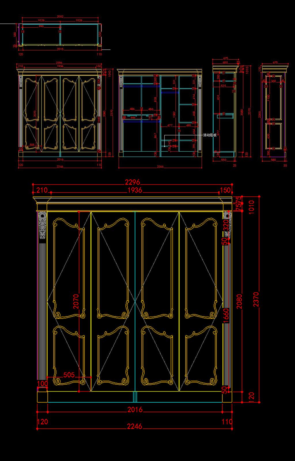 欧式衣柜cad图模板下载(图片编号:12065274)