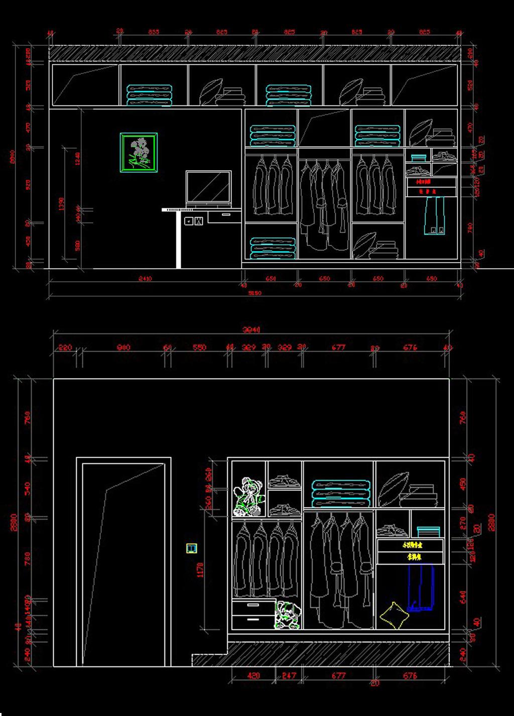 卧室衣柜cad图