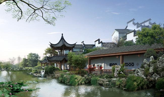 中式园林景观设计效果图
