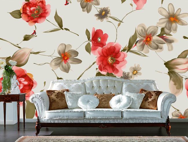 素花梦幻花朵花卉蝶恋花电视沙发客厅背景墙