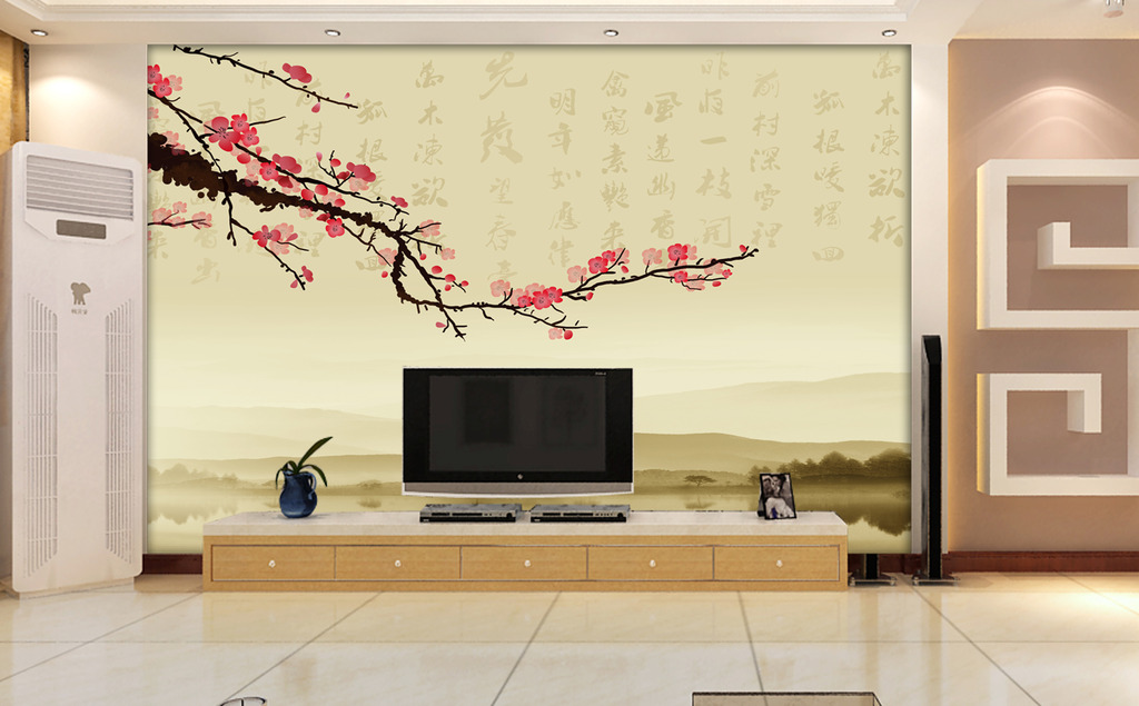 电视背景墙瓷砖壁画梅花模板下载