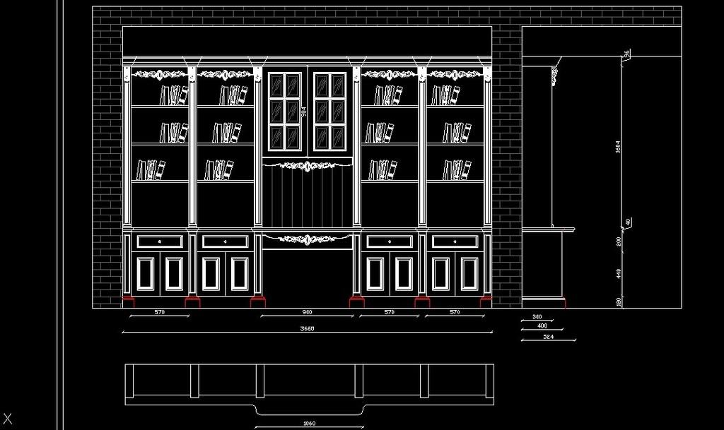 cad衣柜书柜设计图纸模板下载(图片编号:12070260)