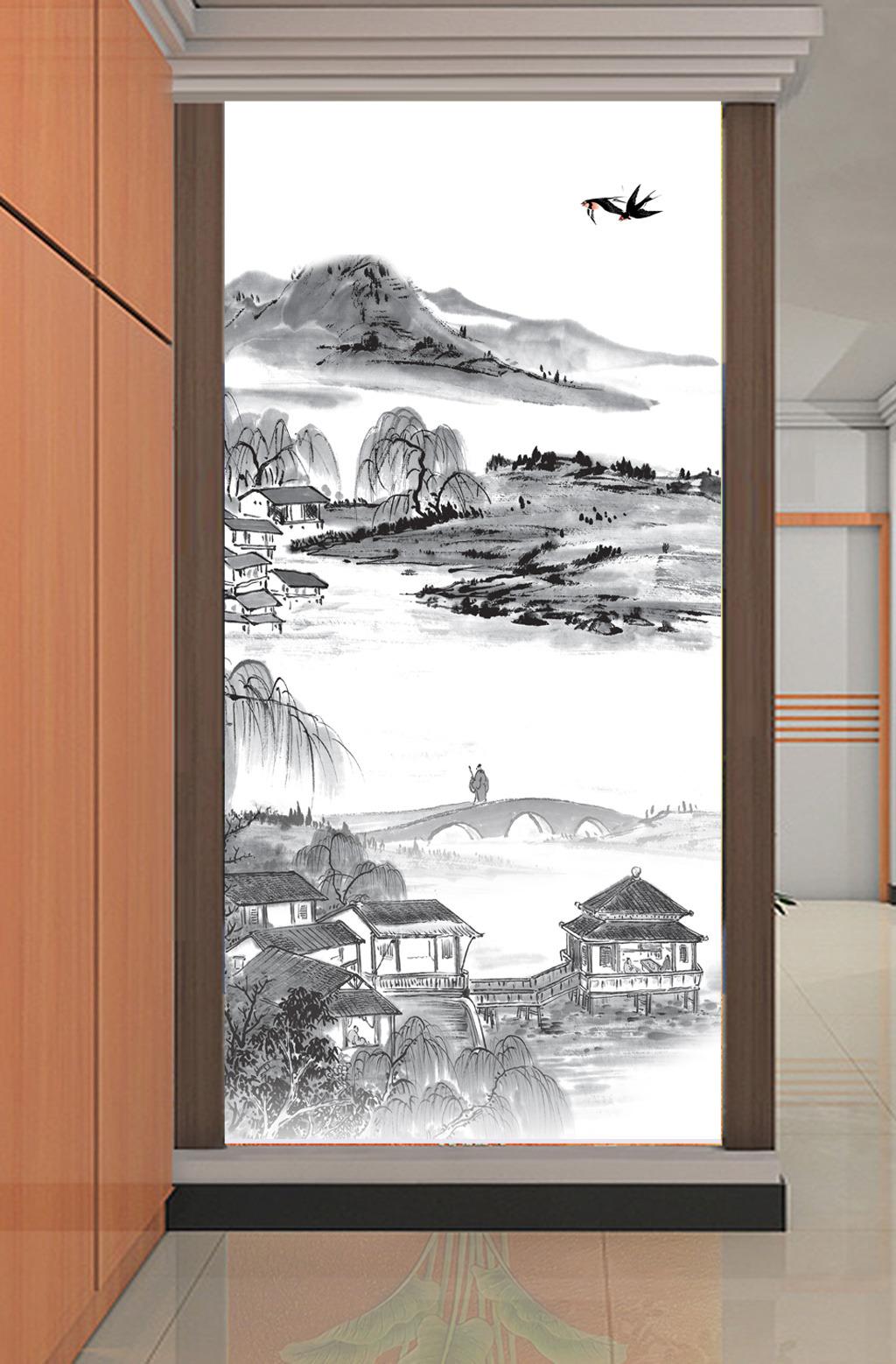 水墨画国画山水风景画玄关背景墙