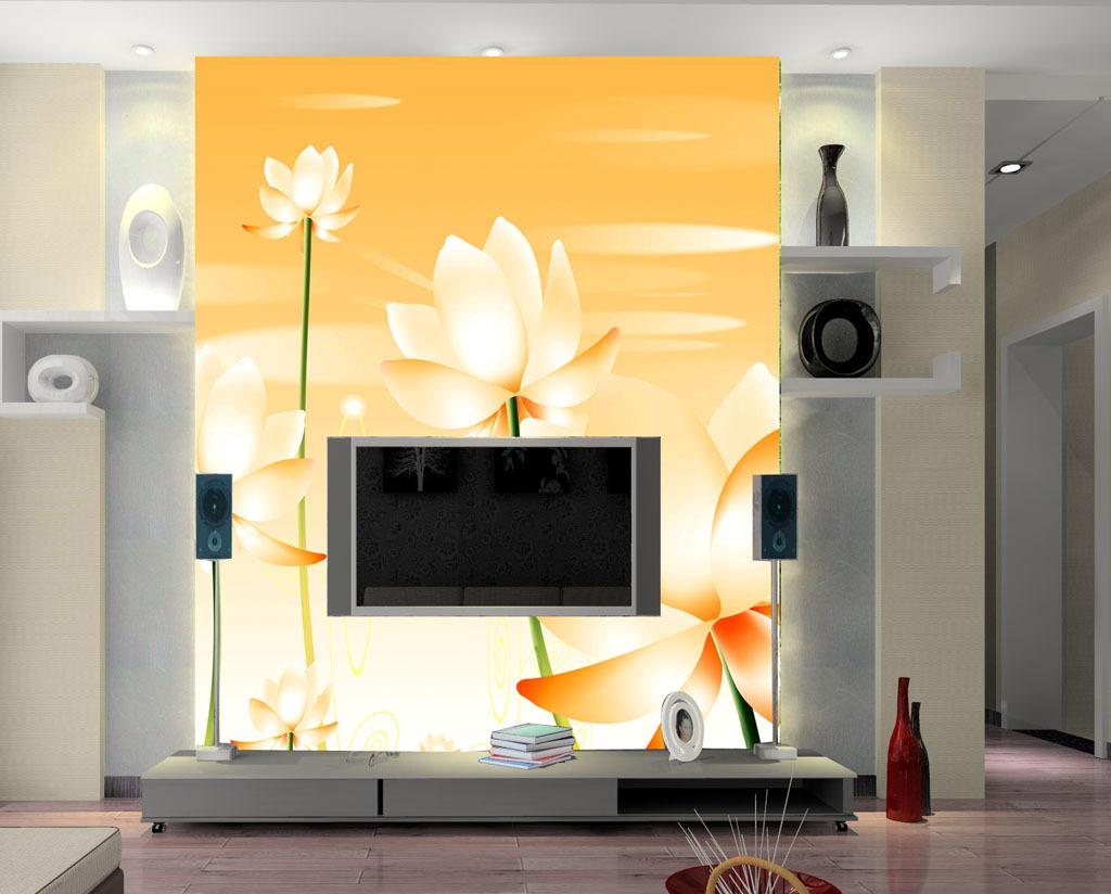 爱莲吟爱莲说荷花莲花诗电视沙发客厅背景墙图片