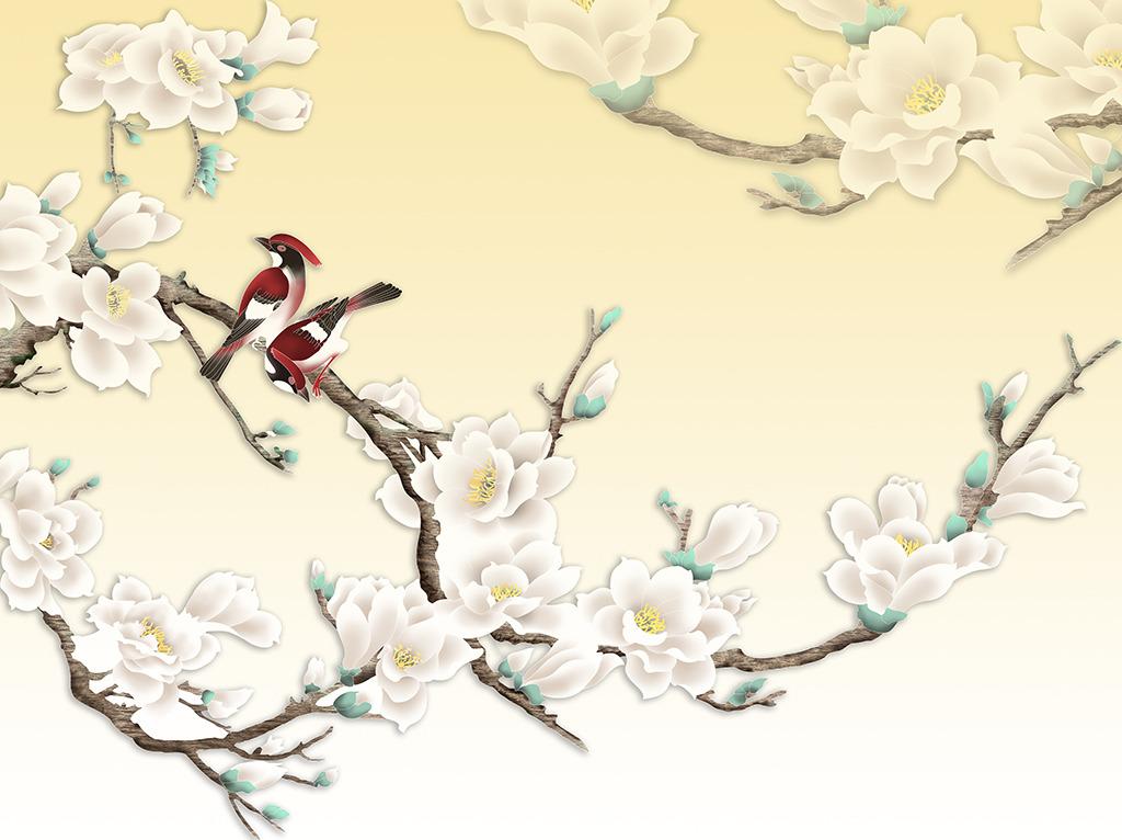 玉兰花电视背景墙手绘花卉背景墙