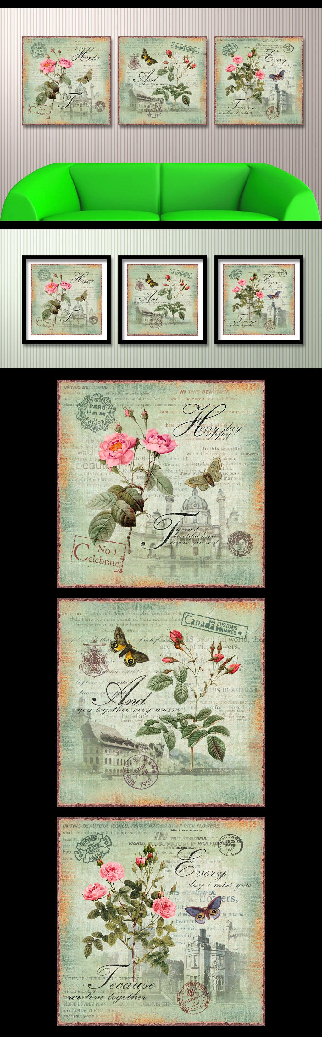 欧式欧美复古怀旧手绘花卉蝴蝶装饰画无框画
